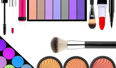 makeup brush and cosmetics, on a white background isolated, with clipping pat - stock photo