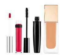 foundation, mascara, lip gloss isolated on white background - stock photo