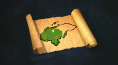 Honduras Map Painting Unfolding Old Paper Scroll 3D 4K Stock Footage