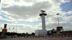 Radar tower antenna station spins at Lisbon Airport, Portugal - stock footage