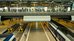 Time Lapse Zoom of Central Train Station - The Hague Netherlands Stock Footage
