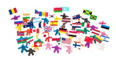 Crowd group of colourful plasticine humans with the various flags - stock photo