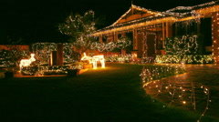 Christmas Lights Display on House Close Up Stock Footage