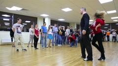 Beginning dancers and their teachers at the school dance. - stock footage