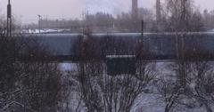 Railway, snow, station, winter, train, railroad, platform, transport, city, rail Stock Footage