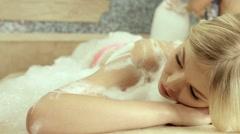 Beautiful blonde on the massage Hamam Stock Footage