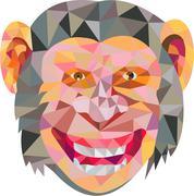 Chimpanzee Head Front Low Polygon Stock Illustration