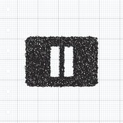 Simple doodle of a pause button - stock illustration