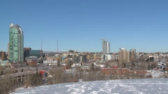 Calgary skyline, east village, winter Stock Footage