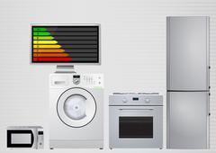 Illustration of domestic appliances with Energy efficiency rating scale Stock Illustration