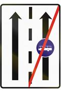 Stock Illustration of Road sign used in Slovakia - End of the lane for buses