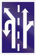 Road sign used in Slovakia - Use of the lanes in an intersection Stock Illustration