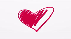 Hand drawn red heart on white background 4K animation - stock footage