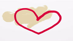 Hand drawn red heart on beige background 4K animation - stock footage