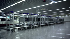 Airport luggage carts, Lisbon Airport, Portugal Stock Footage