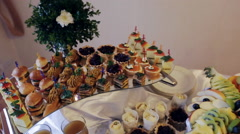 beautifully decorated banquet canape - stock footage