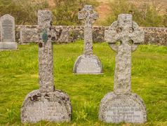 Ancient stone crosses in churchyard, Isle of Mull, Scotland, UK Stock Photos