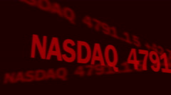Business investment news, world stock markets indices shown on electronic ticker Stock Footage
