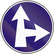 Road sign used in Slovakia - Straight or turn right - stock illustration