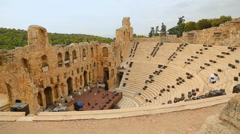 Odeon of Herodes Atticus in Athens, ancient stone theater for music events Stock Footage