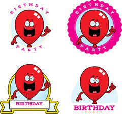 Cartoon Birthday Balloon Graphic - stock illustration