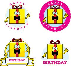 Cartoon Birthday Gift Graphic Stock Illustration