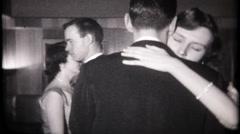 3168 college kids dancing at formal event - vintage film home movie - stock footage