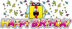 Cartoon Birthday Gift Graphic - stock illustration