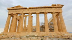 Ancient temple Parthenon on Acropolis in Athens, Greek landmark, tourism trip Stock Footage