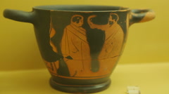 Closeup of hellenistic ceramics art exhibit at archeology museum, Greek pottery Stock Footage