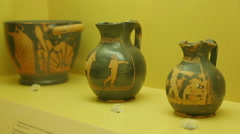 Hellenistic ceramics art exhibits at archeology museum, ancient Greek pottery Stock Footage