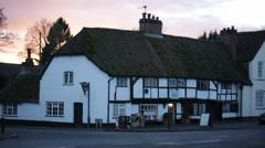 Traditonal English Tudor Cottage - a Corner shop, England, Europe Stock Footage