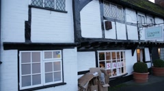 Traditonal English Corner shop, Tudor Architecture, England Stock Footage