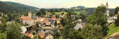 Famous historical panorama of Rozumberk, castle in public ownership and  town - stock photo