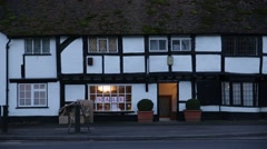 Traditonal English Corner shop: tudor architecture, Thatcham, England Stock Footage