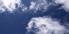 Time-lapse wispy white clouds swirling in blue sky - stock footage