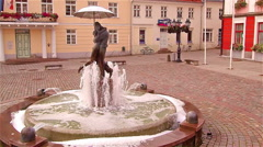 The slow motion shot from the fountain in Tartu square Stock Footage
