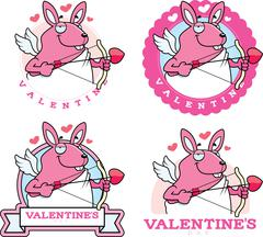 Cartoon Bunny Cupid Graphic - stock illustration