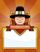 Cartoon Thanksgiving Pilgrim Boy Graphic Stock Illustration