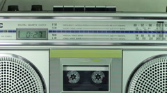 Tape Recorder Playing with Silver Cassette Stock Footage