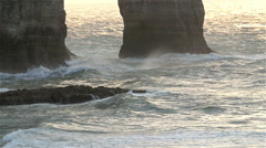 The slow motion shot of the big waves on Etretat Stock Footage