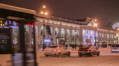 Pedestrians and cars moving through Nevsky prospect in Saint-Petersburg, Russia - stock footage