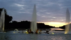 The beautiful big fountain in front of Versaille palace Stock Footage