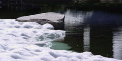 Icy snow thawing at edge of rippling mountain pond - stock footage