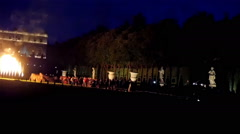 Showcasing of fire dance in the yard of Versaille - stock footage