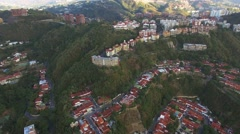 Aerial view of a residential district overflight on a capital city. Stock Footage