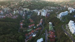 Aerial view of a residential district overflight on a capital city - stock footage