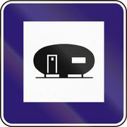 Road sign used in Slovakia - Caravan place - stock illustration