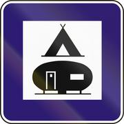 Road sign used in Slovakia - Camping and trailer ground - stock illustration
