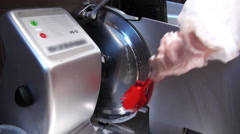 Cleaning the slicer from the remnants of food. Stock Footage